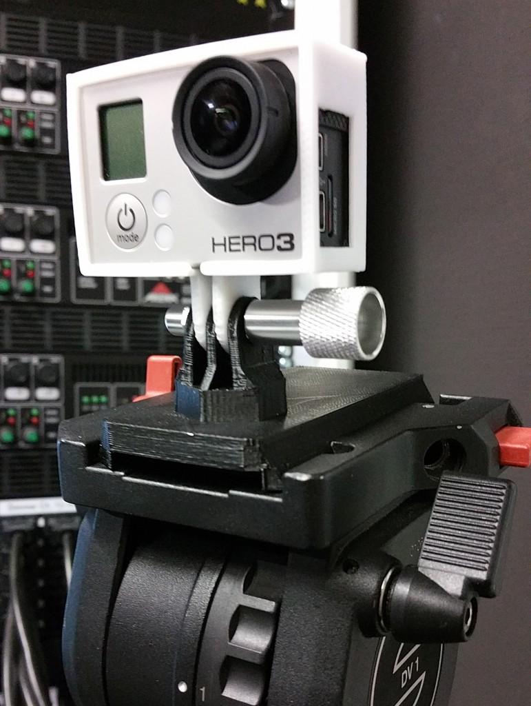 So schaut das ganze aus, wenn man es in das Stativ steckt. So ein großes Stativ für eine Actioncam sieht zugegebenermaßen etwas merkwürdig aus. Funktioniert aber super und passt perfekt!